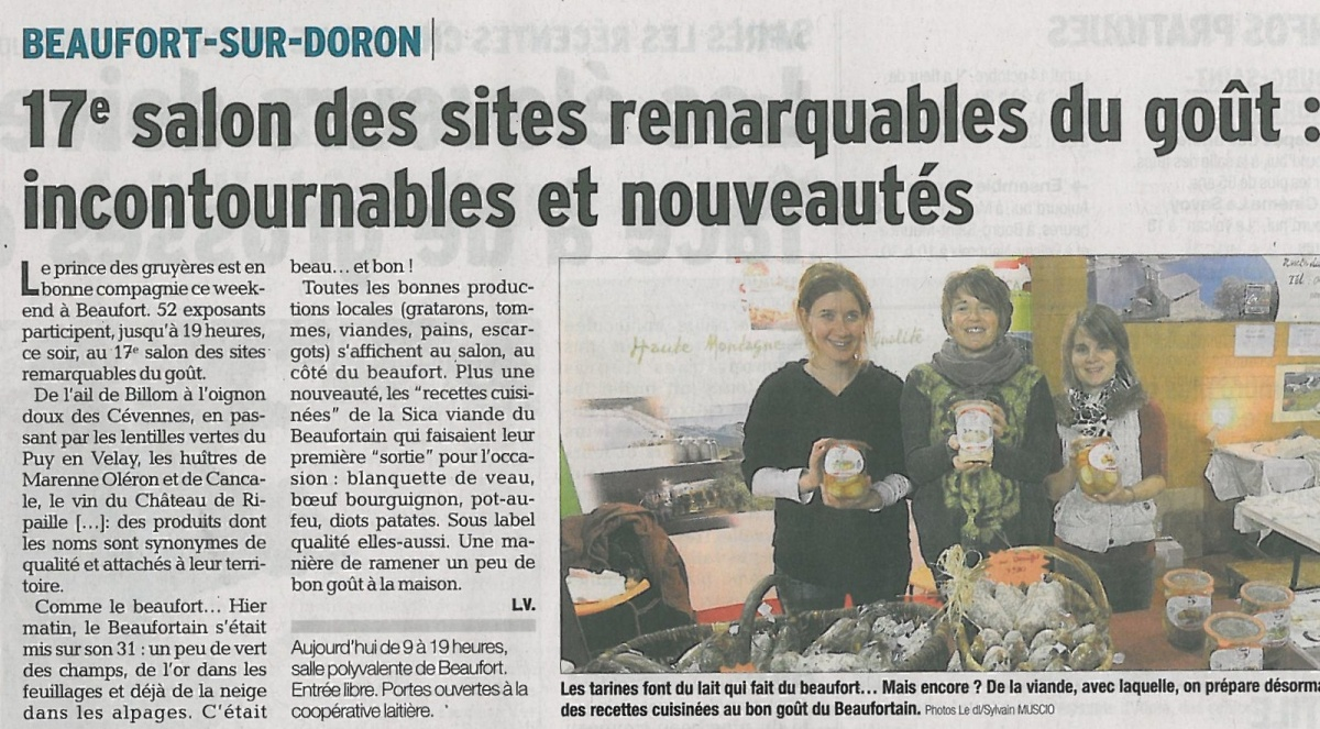 Sica viande du beaufortain - Beaufort sur doron office du tourisme ...